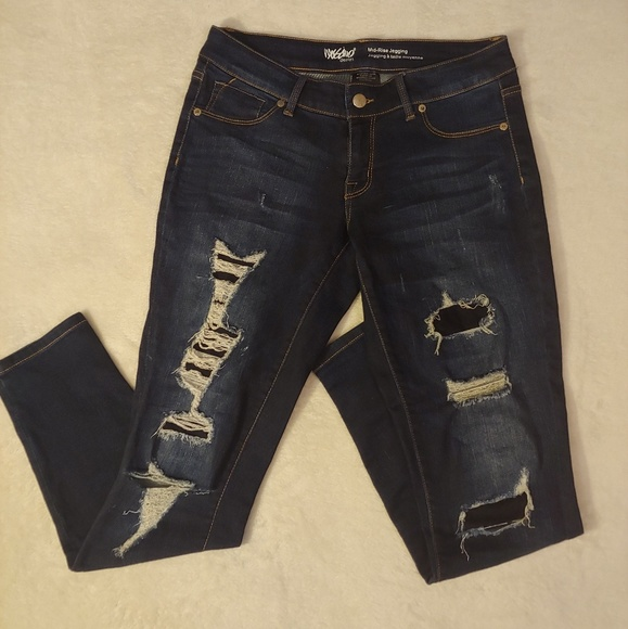 Mossimo Supply Co. Denim - Mossimo Mid Rise Distressed and Repaired Jeggings